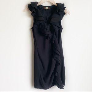 Anthropologie Eva Franco Dress Ruffle Black Size 2